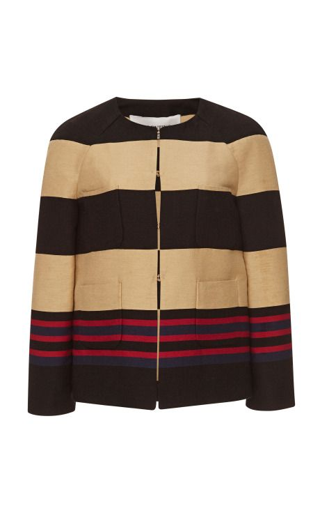 Shop Striped Cotton and Silk Blend Jacket by Valentino Now Available on Moda Operandi