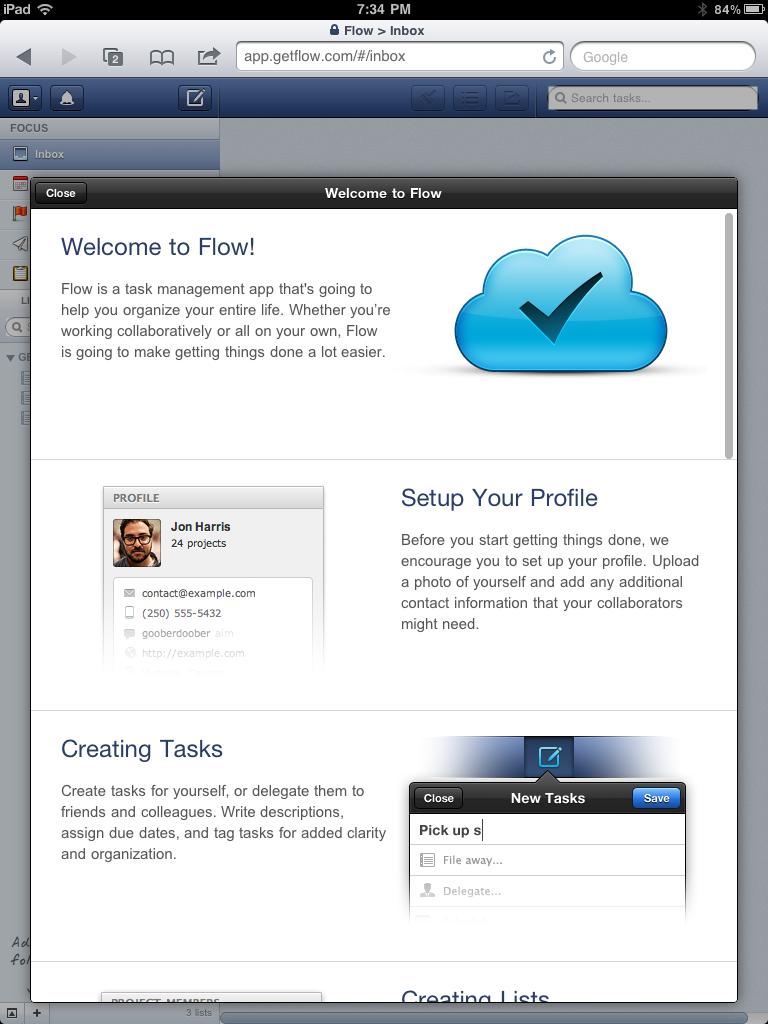 intro popup Task management app, Task