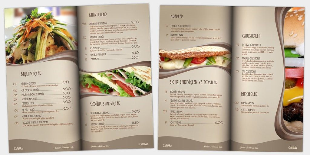 Restaurant Menu Design Ideas Awesome Cafe Mia Menu Design By ...