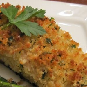 Parmesan crusted baked fish parmesan crusted parmesan for Parmesan crusted fish
