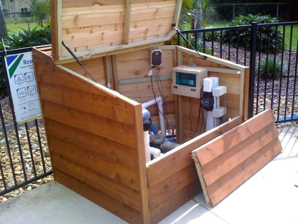 Top 40 Best Pool Equipment Cover Ideas, Above Ground Pool Pump Storage
