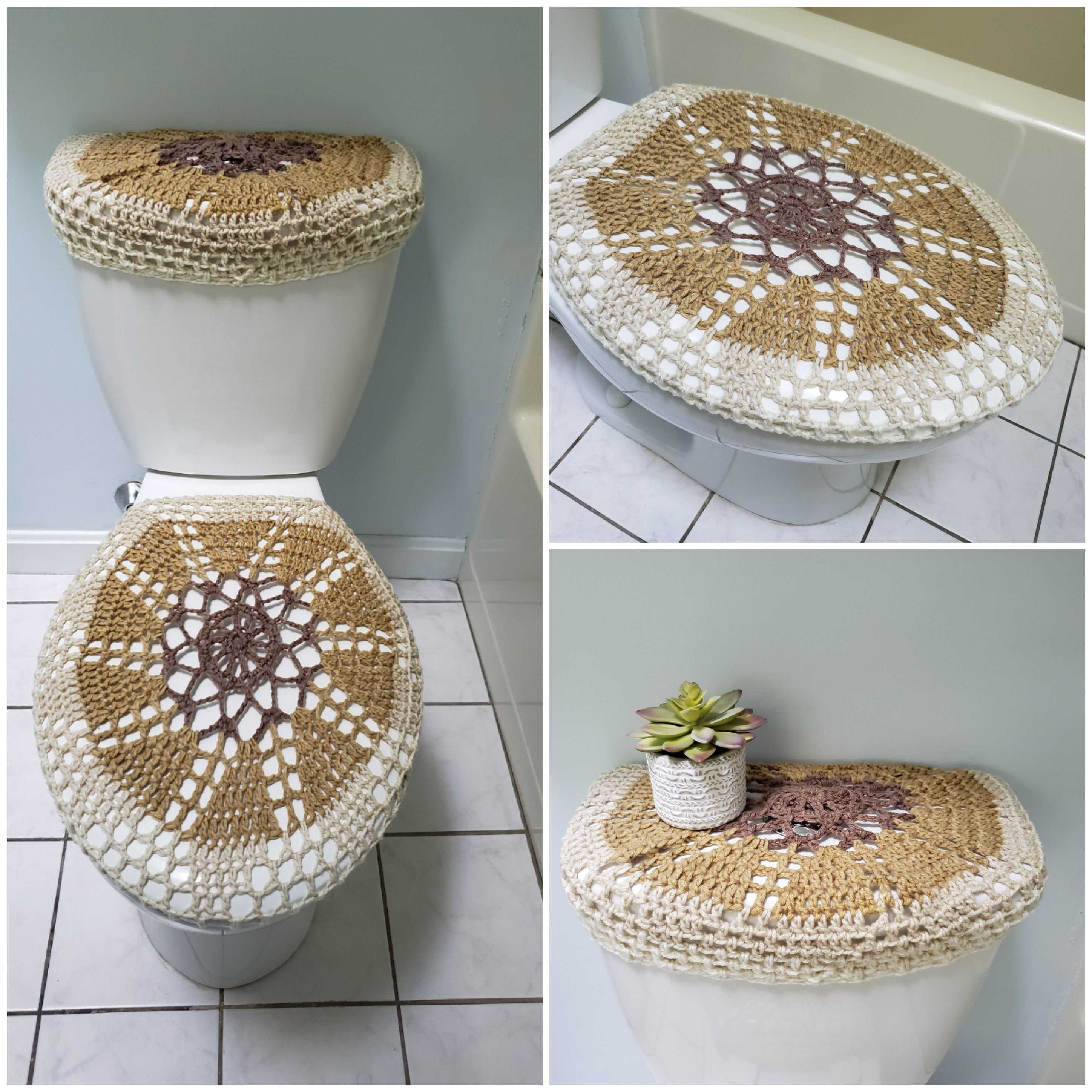 Swell Crochet Tank Lid Cover Or Toilet Seat Cover Brown Light Cjindustries Chair Design For Home Cjindustriesco