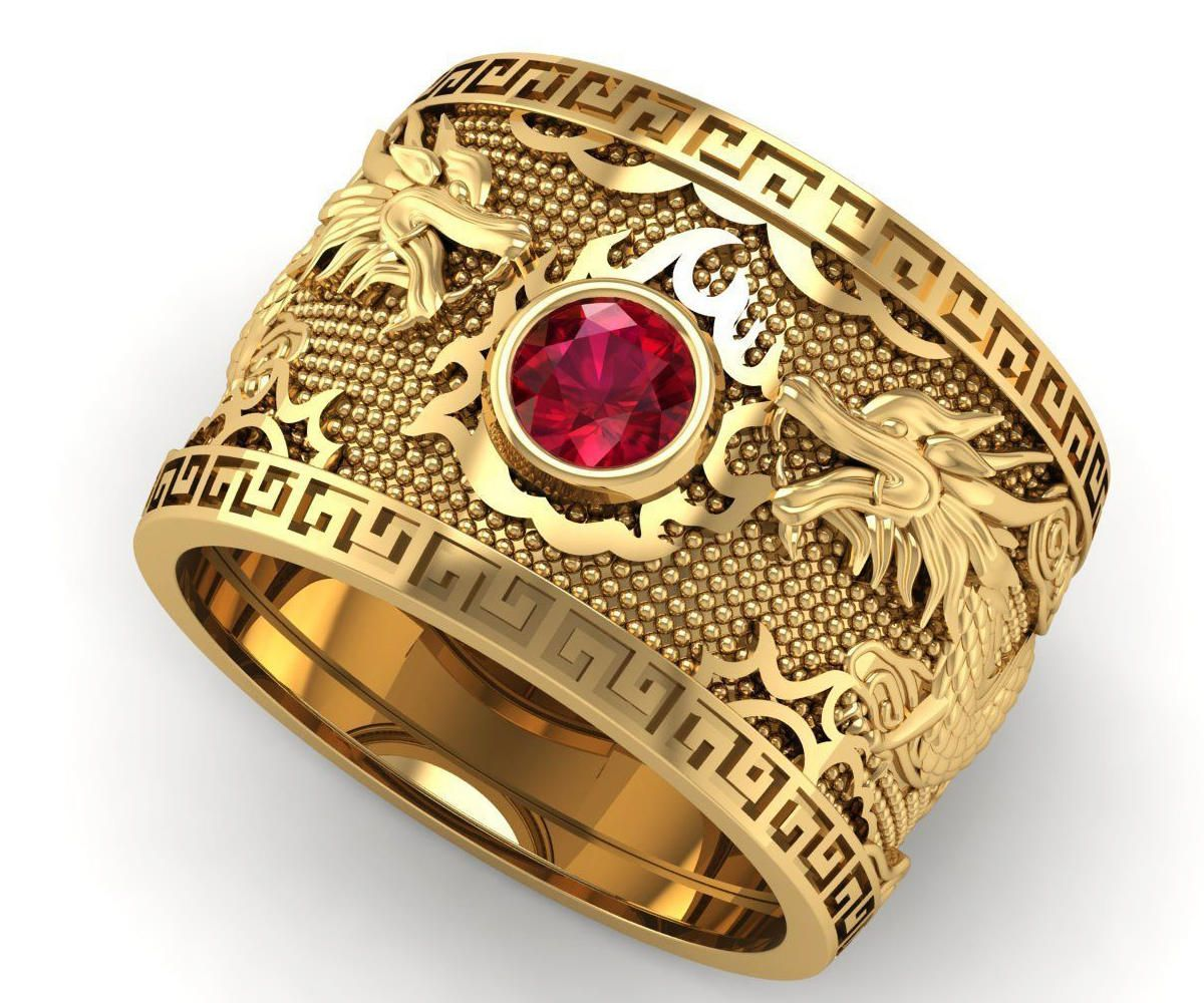 Large Ring Wide band ring Men's ring Ruby ring Heavy ring