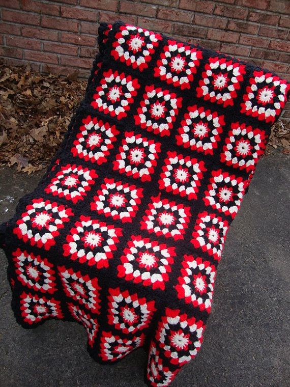 Vintage 60s Neon Red Black And White Granny By