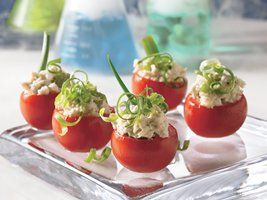 Toxic Tomatoes - Let the surprising kick of these easy appetizers, with deli chicken salad and a dash of horseradish, creep up on your Halloween guests.