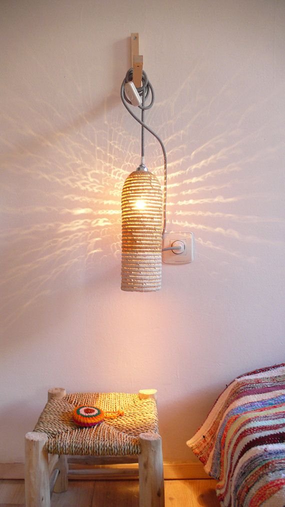 Natural raffia lamp with textile cable, switch and plug - white ...