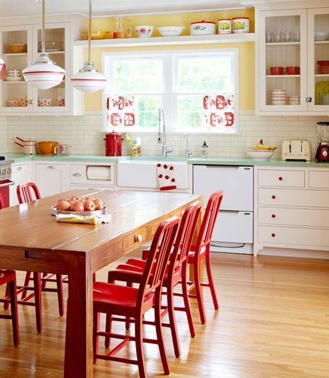 If You Donu0027t Want To Dish Out The Cash On A Retro Fridge Or Oven, Add  Splashes Of Color Throughout The Room. Here, The Yellow Paint Job Instantly  Mu2026
