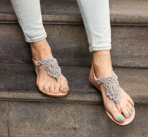 Silver Grey Macrame und PinkLeather Sandale Sommer von