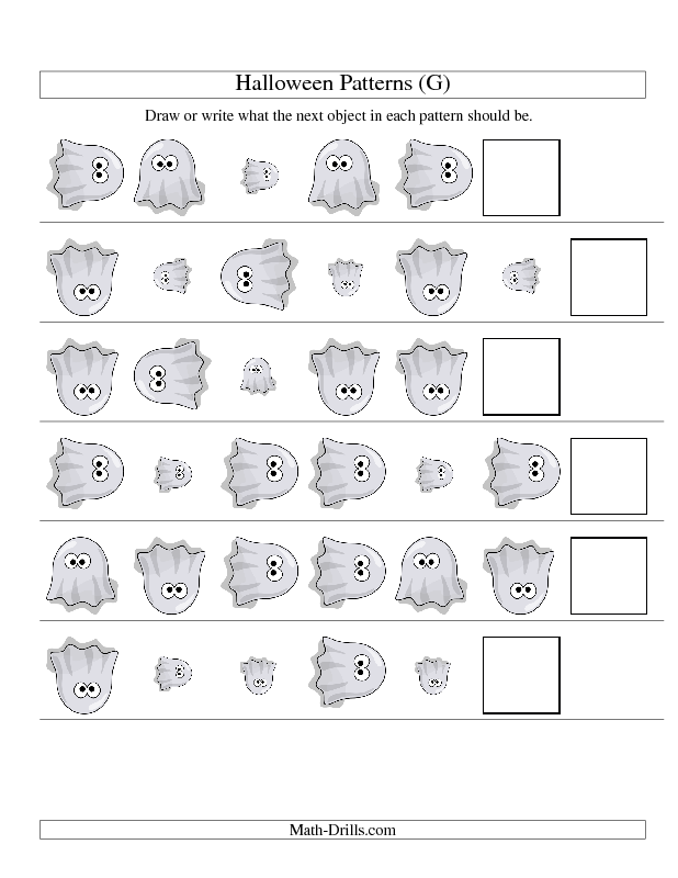 Picture Patterns Two Attributes Size And Rotation With A Halloween Ghost G Pattern Worksheet Math Worksheets Halloween Math Worksheets