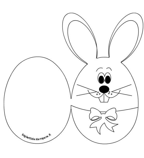 Pasqua - Biglietto con coniglio da colorare | Easter cards ...