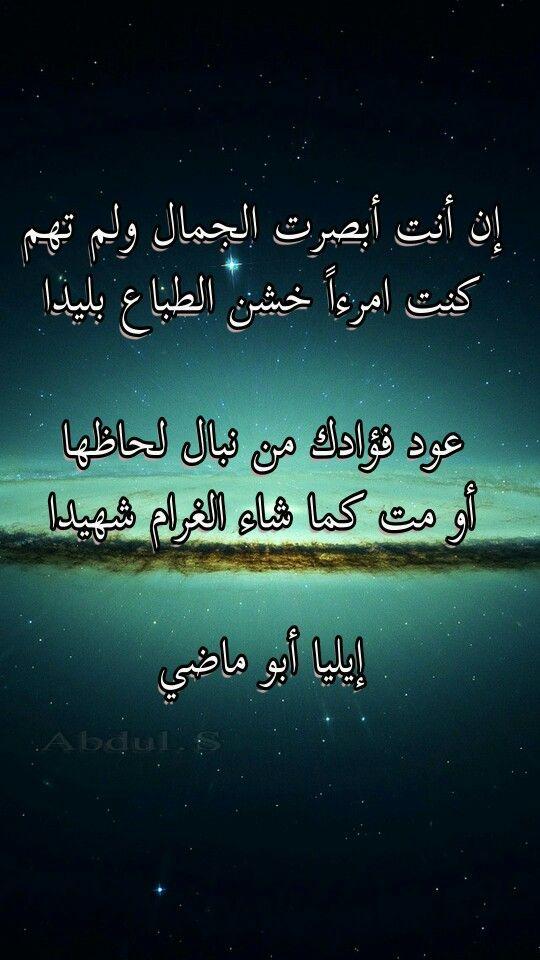 إيليا أبو ماضي Pretty Words Words Poem Quotes