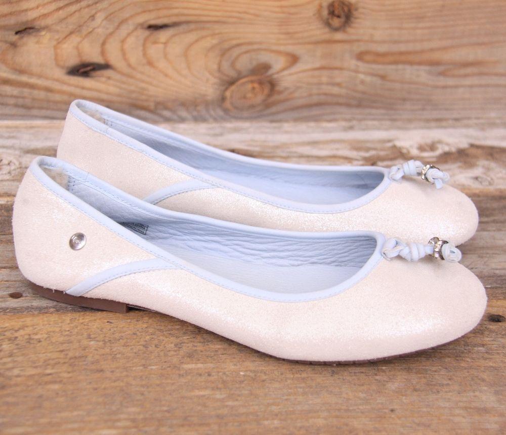 UGG Australia Womens Antora I Do! White Blue Ballet Flats Shoes US 9 UK 7.5