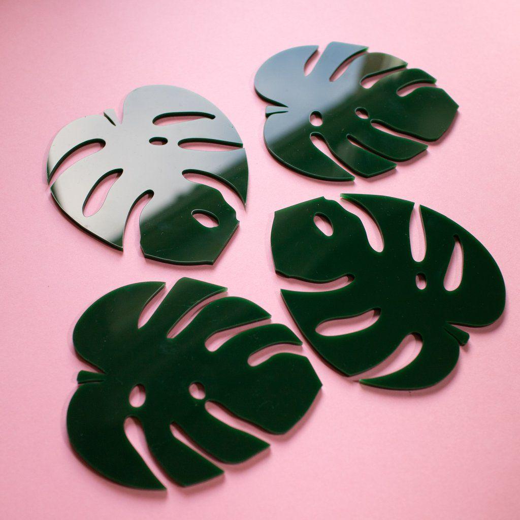Cheese Plant Leaf Coasters Decor