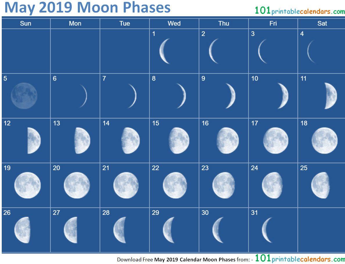 May 2019 Calendar Moon Phases Con Imagenes Calendario Lunar