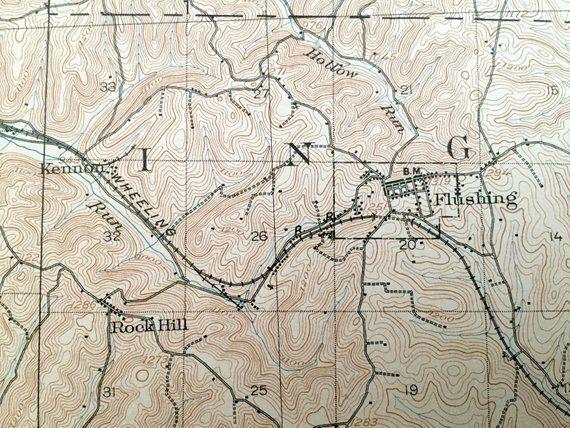 Antique Flushing Ohio 1905 Us Geological Survey Topographic Map