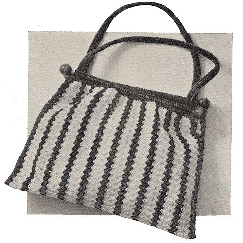 This Striped Crochet Bag Pattern With Wood Rod Top Opening And