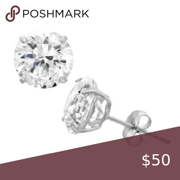 Renaissance 10k White Gold Cz Stud Earrings In 2020 Cz Stud Earrings Stud Earrings Boutique Jewelry