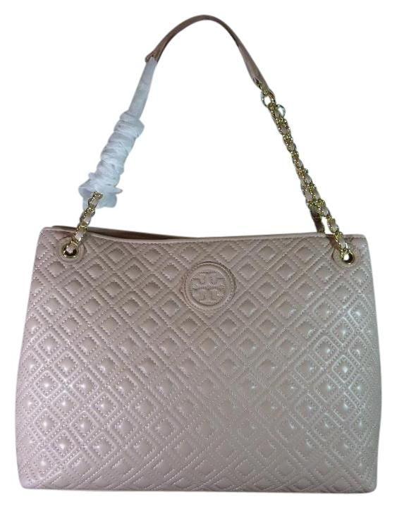 ae44bdf73856 Leather · Tory Burch Light Oak Quilted Leather Marion Pink Tote Bag.
