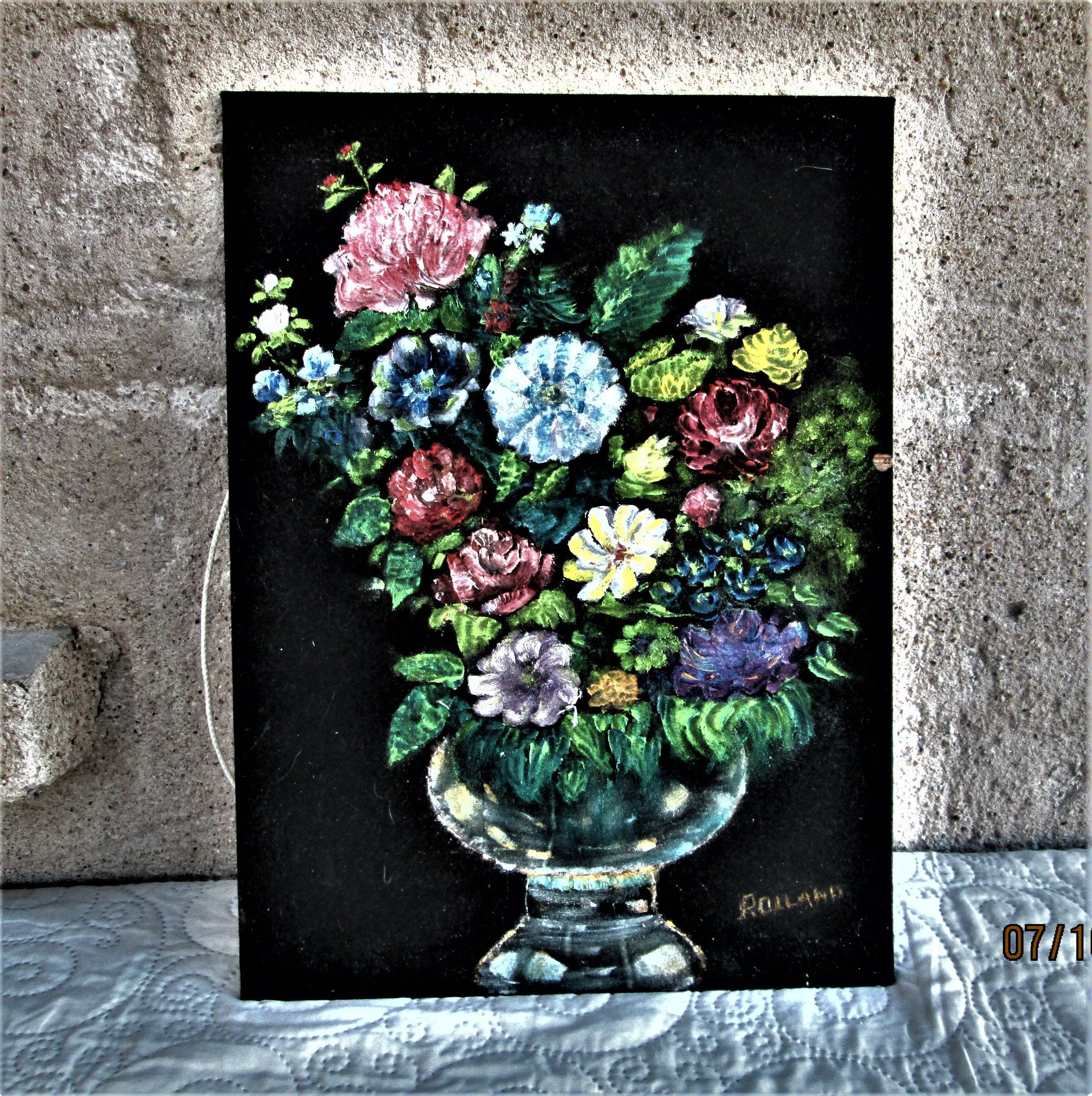Vintage French Painting, Floral Pictures, Painting On Velvet, Black Pictures,