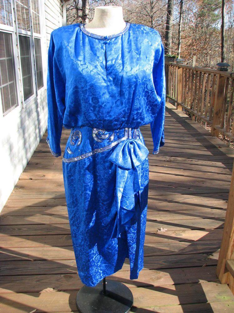 Spencer Jeremy - Blue 100% Silk & Beaded  Holiday Formal Party Dress Size 12 #SpencerJeremy #TeaDress #Cocktail