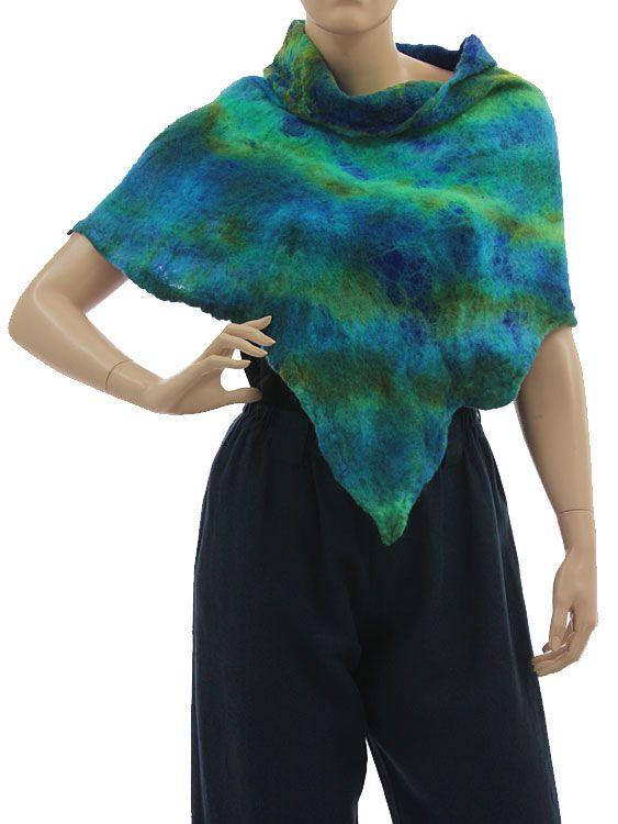 Lightweight unique shoulder poncho merino felt silk - blue green - Artikeldetailansicht - CLASSYDRESS Lagenlook Art to Wear Women's Clothing