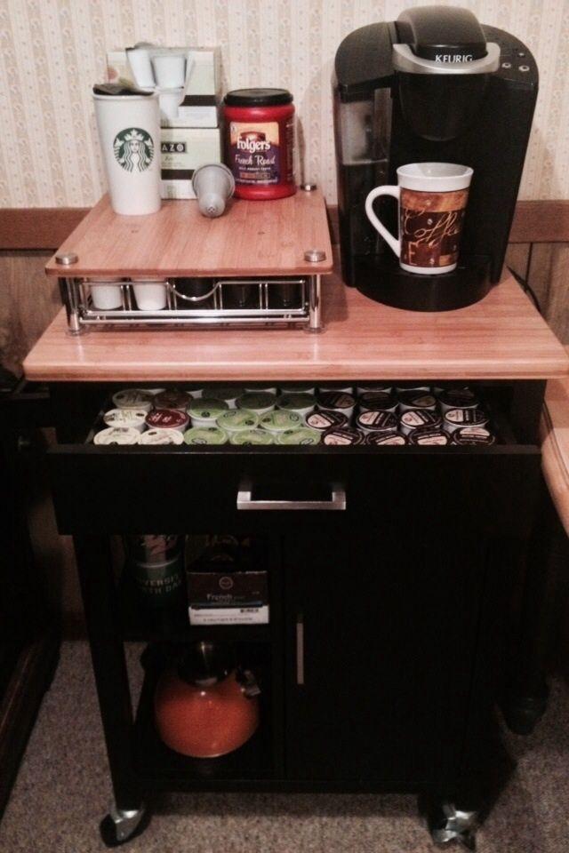 Kitchen Cart Coffee Bar #keurig #coffee