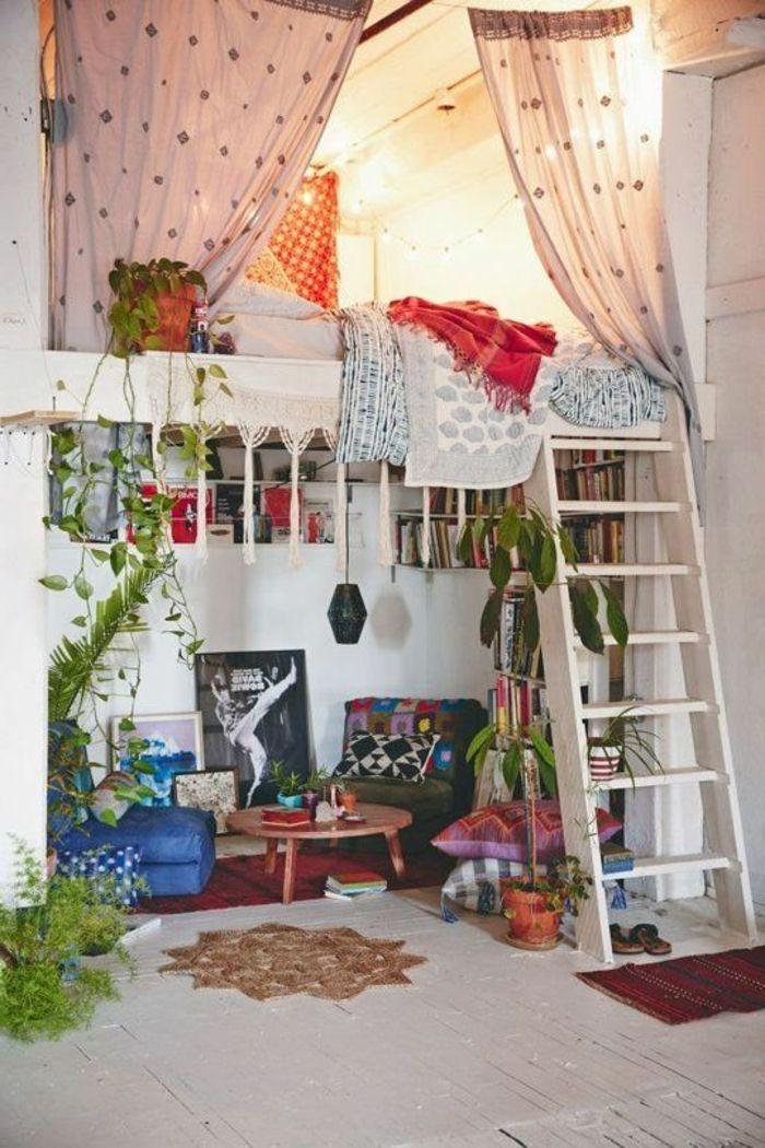 interessantes zimmer mit gardinen - hochbett für erwachsene DIY - hochbett fur schlafzimmer kinderzimmer