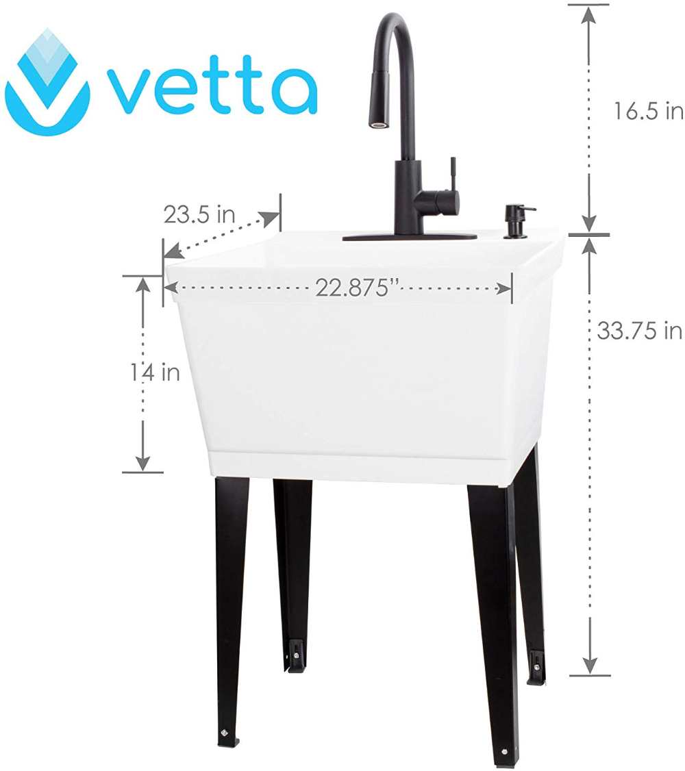 Vetta White Utility Sink Laundry Tub With High Arc Black Kitchen Faucet By Vetta Pull Down Sprayer Spout Hea In 2020 Laundry Tubs Utility Sink Black Kitchen Faucets