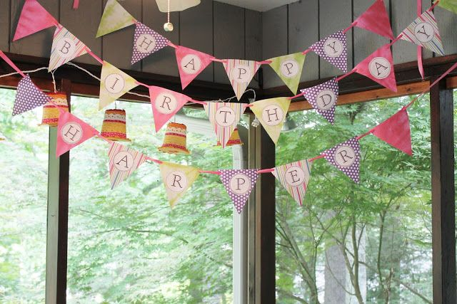 Happy Birthday Pennant Banner I used the letter template provided