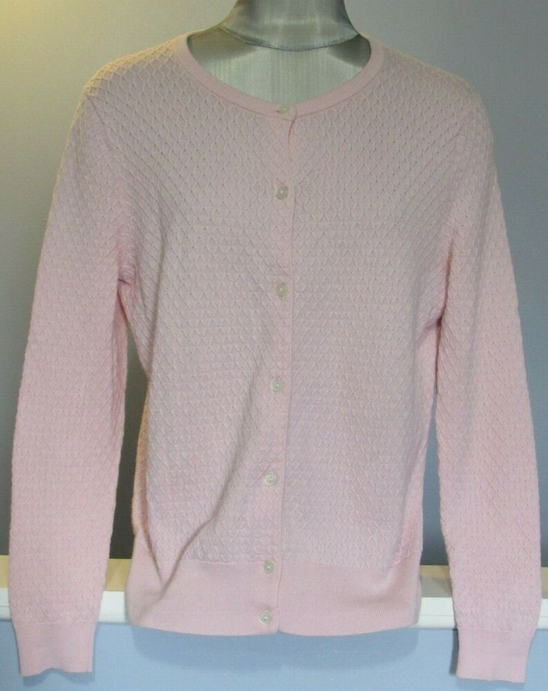 Lands End Cardigan Sweater Large Petites 14 16 Light Pink Textured Supima Cotton Landsend Cardigan Anyoccasion Supima Cotton Sweaters Cardigan