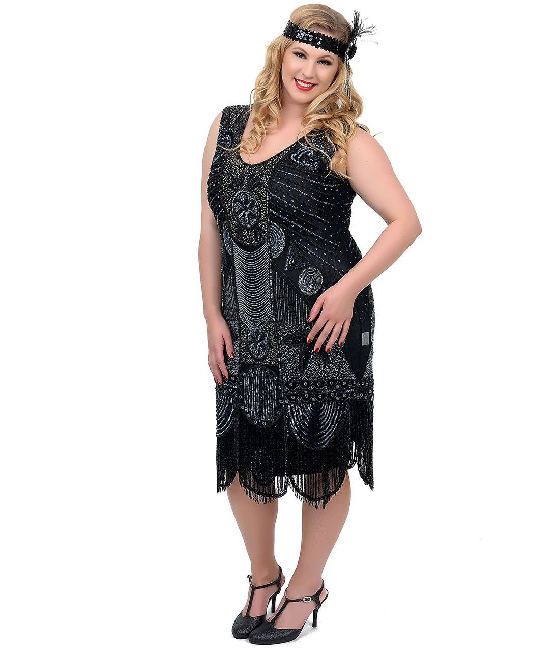 "unique vintage plus size 1920s ""the bosley"" black beaded flapper"