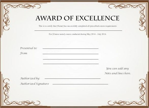 Excellence Award Certificate Template Download Bursary Sample