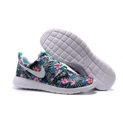 teal nike roshe with floral print