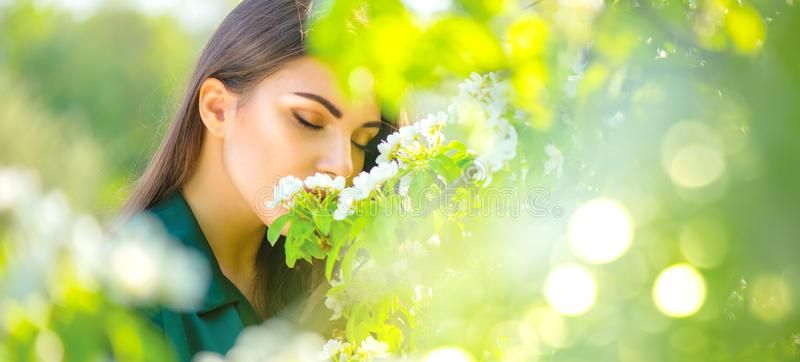 Beauty Young Woman Enjoying Nature In Spring Apple Orchard Happy Beautiful Girl Sponsored Apple Spring Happy Blooming Apples Fruit Trees Garden Girls