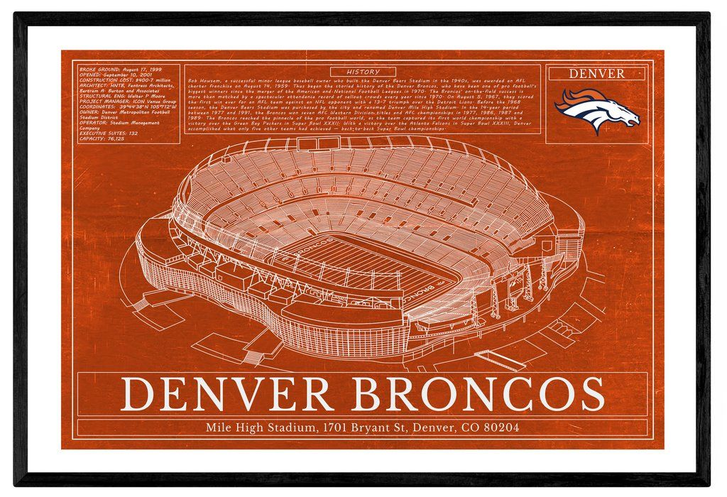 Unique NFL Football Stadium Blueprints Art - Denver Broncos Sports ...