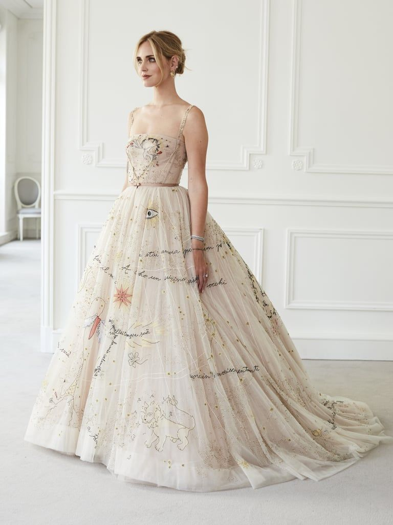 Chiara Ferragni S Second Wedding Dress Was Stitched With Song Lyrics And Her Third Came With Flats Dior Wedding Dresses Wedding Dress Couture Second Wedding Dresses