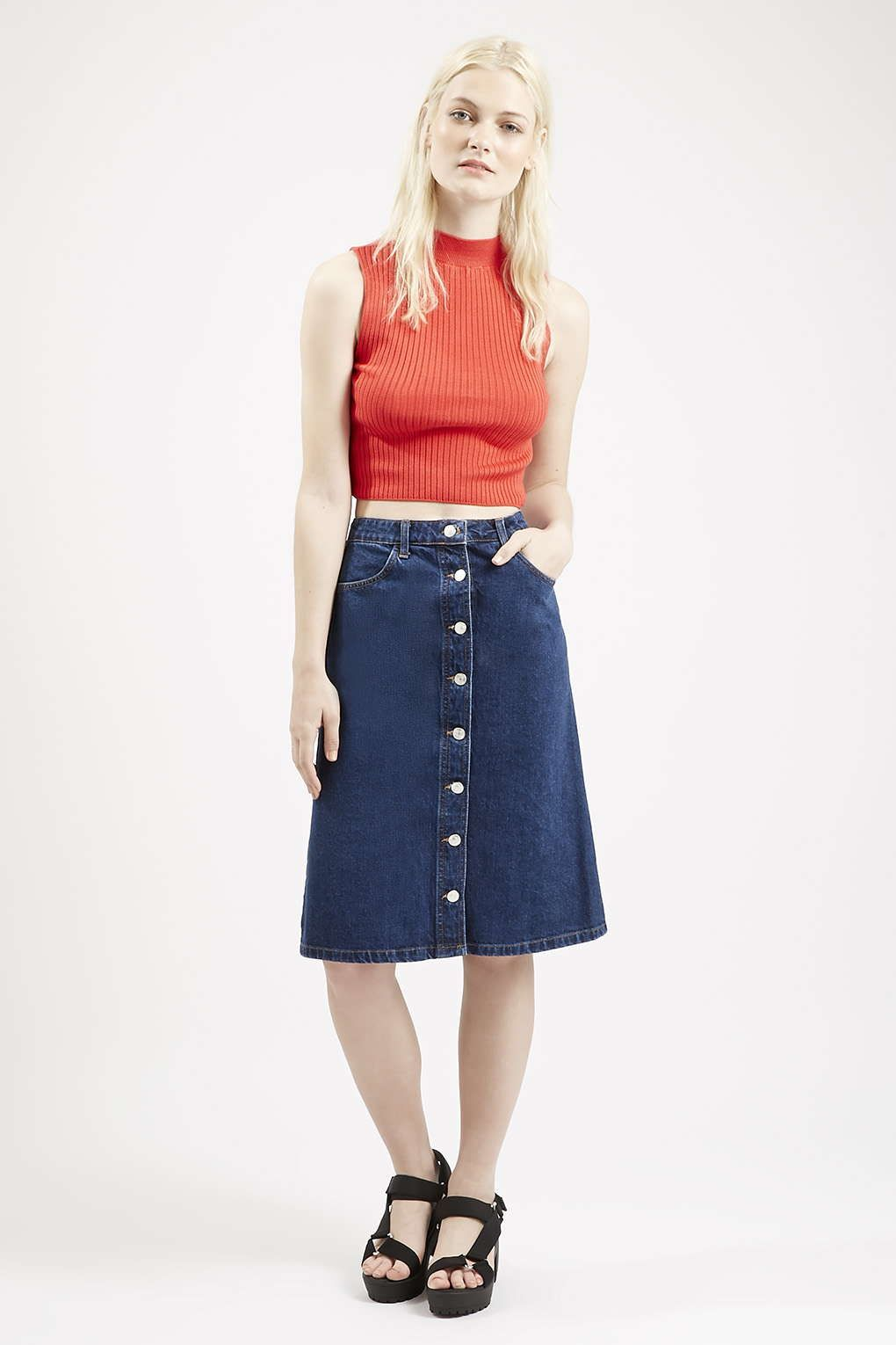 0df4b029f2af2 Photo 2 of MOTO Denim Button Front Midi Skirt