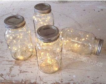 10 fairy lights for Mason Jar. Rustic Wedding ceremony Decor, Led Lights, Wedding ceremony ... #ball...