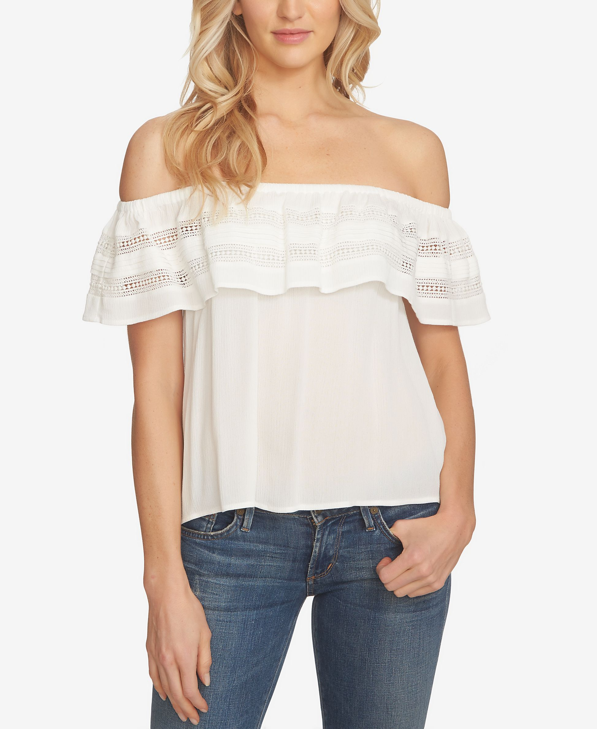 1.state Off-The-Shoulder Ruffled Top