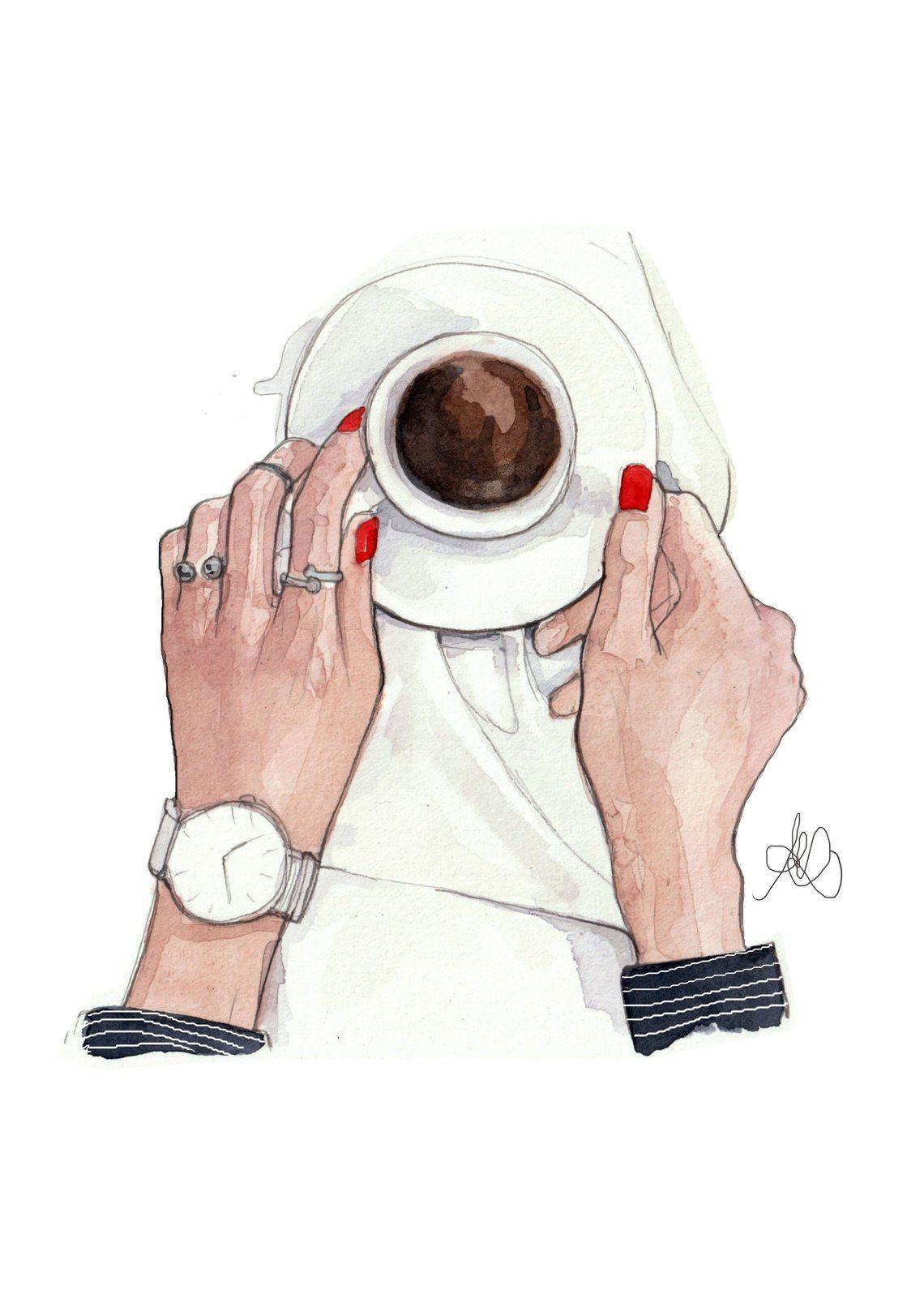Fashion Illustration Print, Coffee Chic