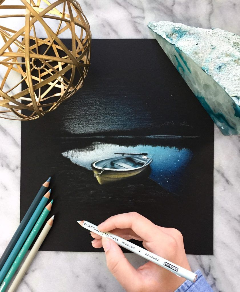 Drawing on Black Paper With Colored Pencils | Colored Pencil Drawing - Art By Safanah