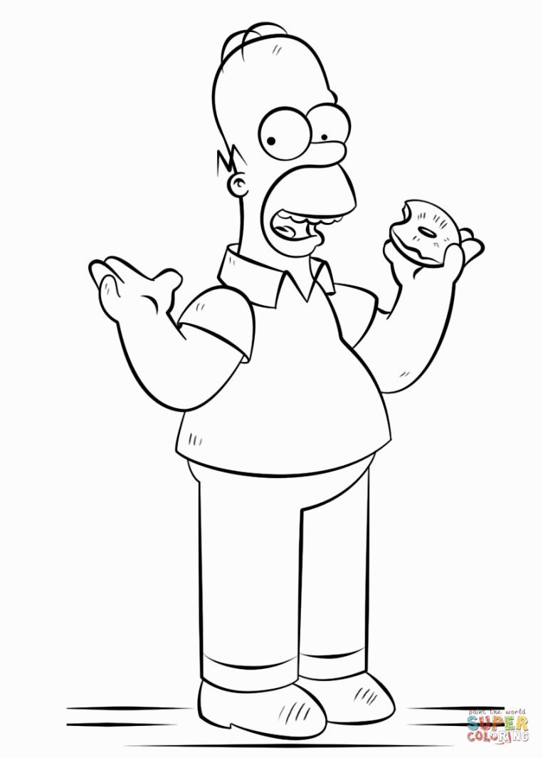 Homer Simpson Coloring Pages Homer Simpson Drawing Drawing