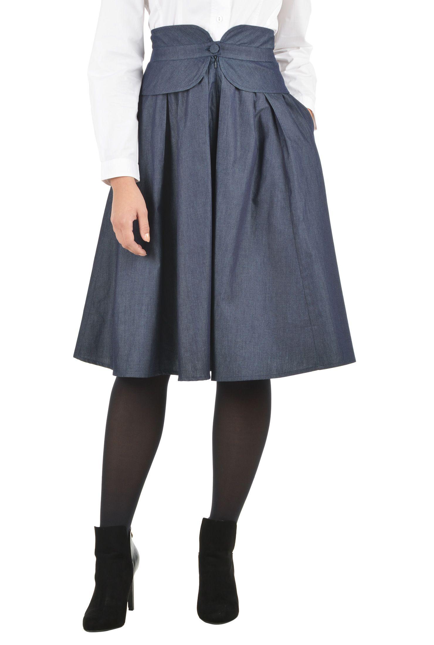 Cotton chambray peplum skirt | Chambray skirt, Box pleats and Chambray