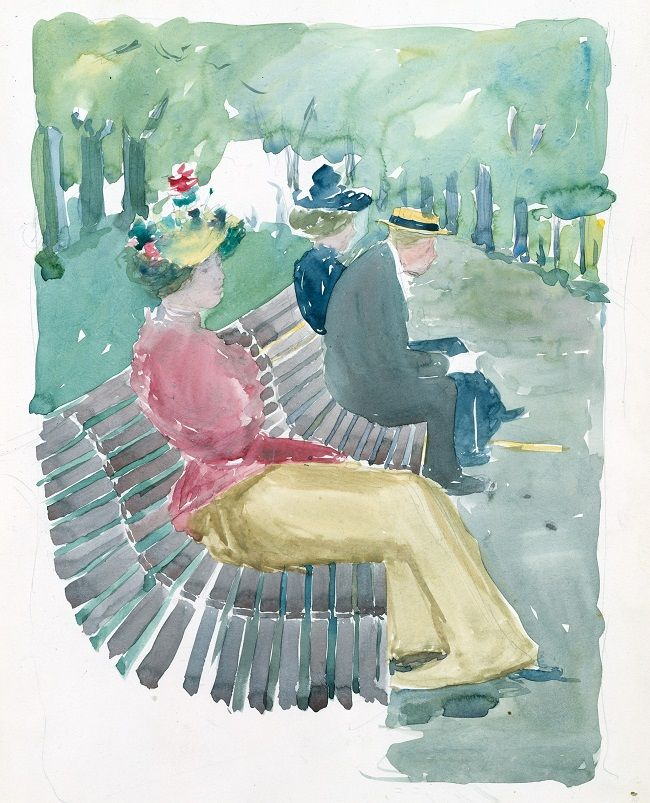 Maurice Prendergast - Large Boston Public Garden Sketchbook; A man and two women sitting in the park