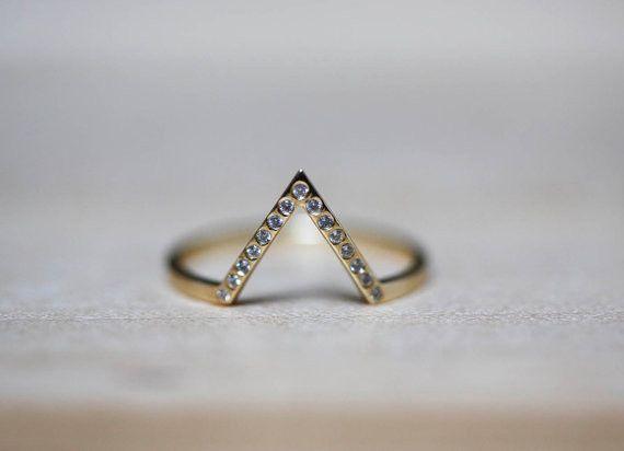 ゴールドシェブロンリング/0,10カラットダイヤモンド