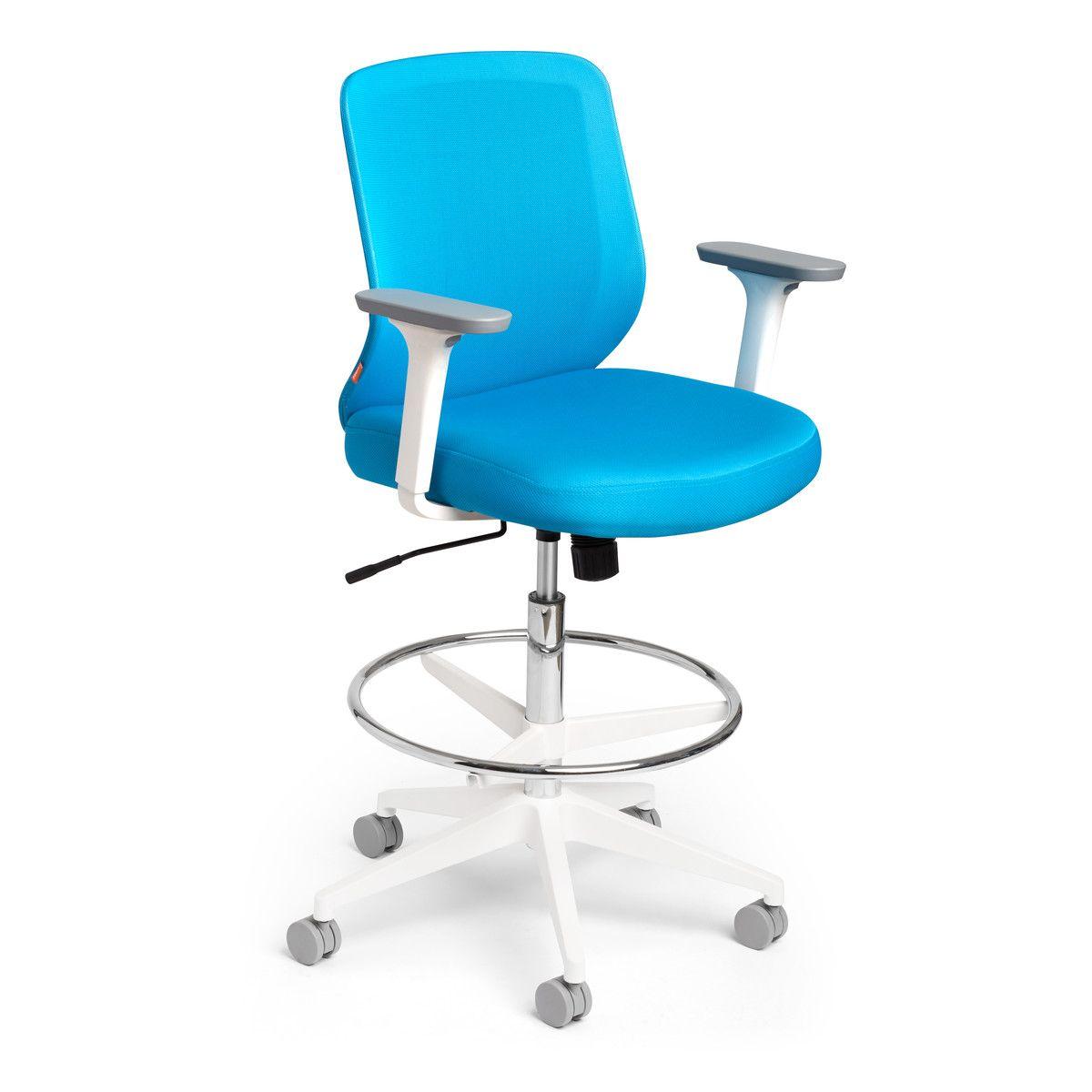 Sensational Pool Blue Max Drafting Chair Mid Back White Frame Modern Uwap Interior Chair Design Uwaporg