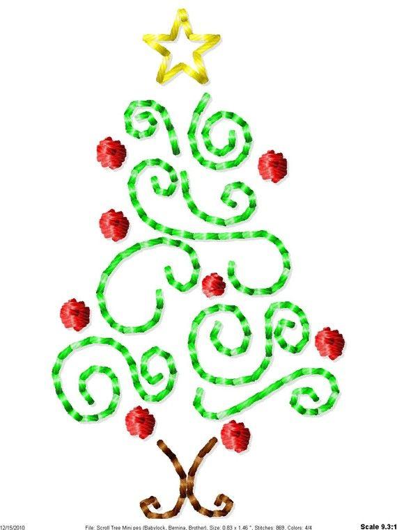 Scroll Christmas Tree Machine Embroidery Design Mini Etsy In 2020 Christmas Embroidery Designs Embroidery Designs Machine Embroidery Projects