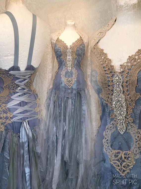Brautkleid blau und schön, Boho Brautkleid blauen Traum, alternative ...