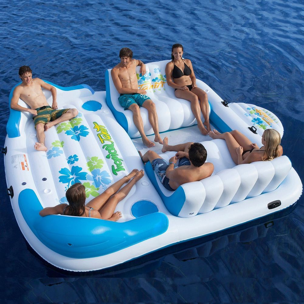 Inflatable Party Raft 6 Person Blow Up Float Pontoon Boat Tube Pool Lounge Ski