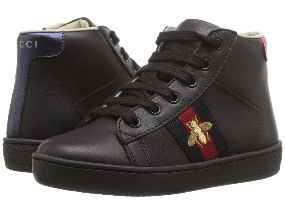 8a8b7807054 Gucci Kids New Ace High Top Sneaker (Toddler) Kids Shoes Black ...